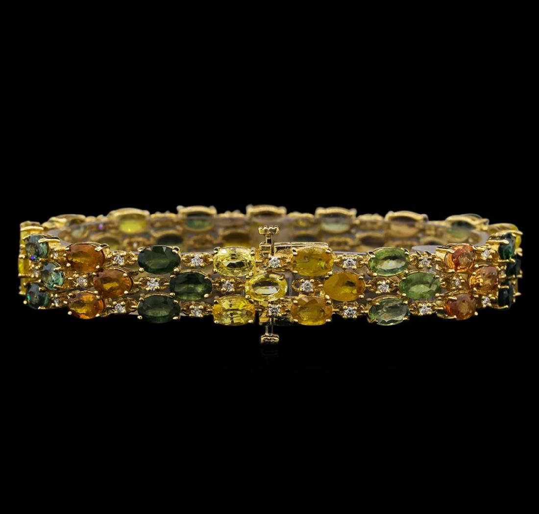 14KT Yellow Gold 28.17 ctw Multicolor Sapphire and - 2