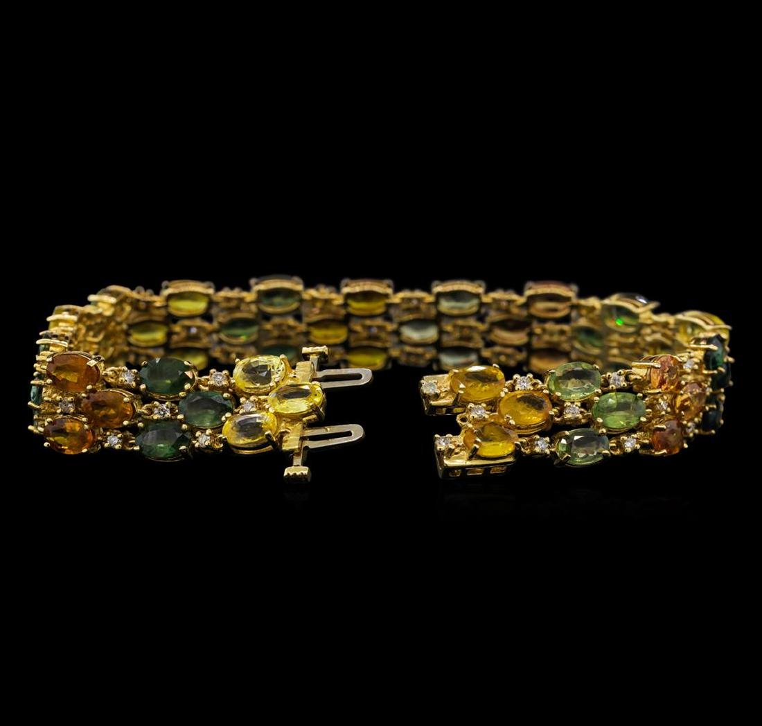 14KT Yellow Gold 28.17 ctw Multicolor Sapphire and - 3