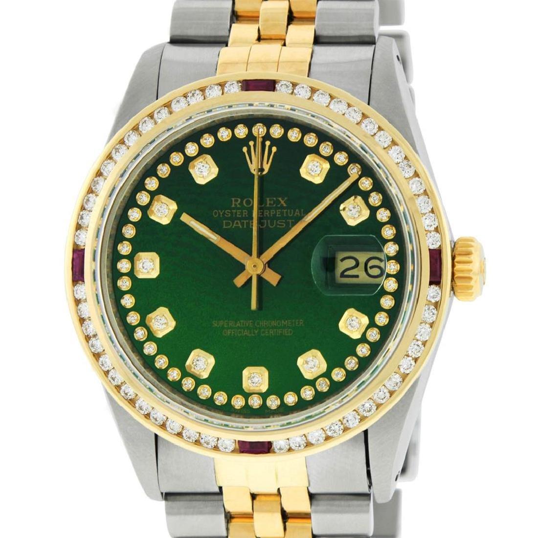 Rolex Mens 2 Tone 14K Green String Diamond & Ruby