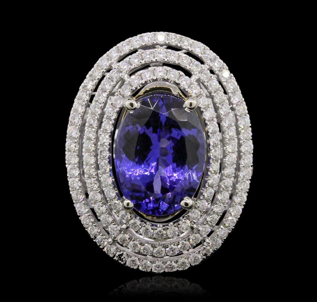 14KT White and Yellow Gold 6.46 ctw Tanzanite and - 2