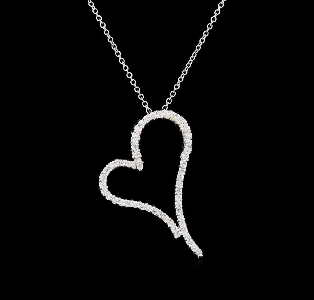 1.18 ctw Diamond Heart Pendant With Chain - 14KT White - 2