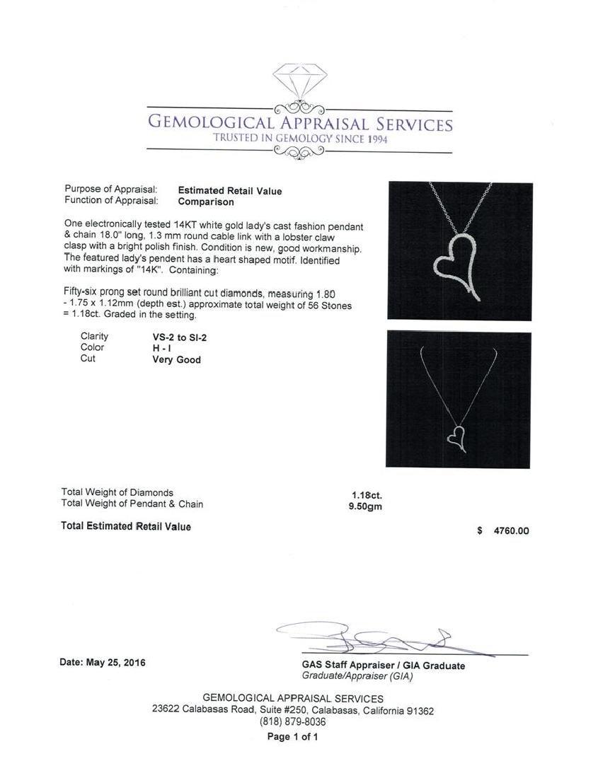 1.18 ctw Diamond Heart Pendant With Chain - 14KT White - 3