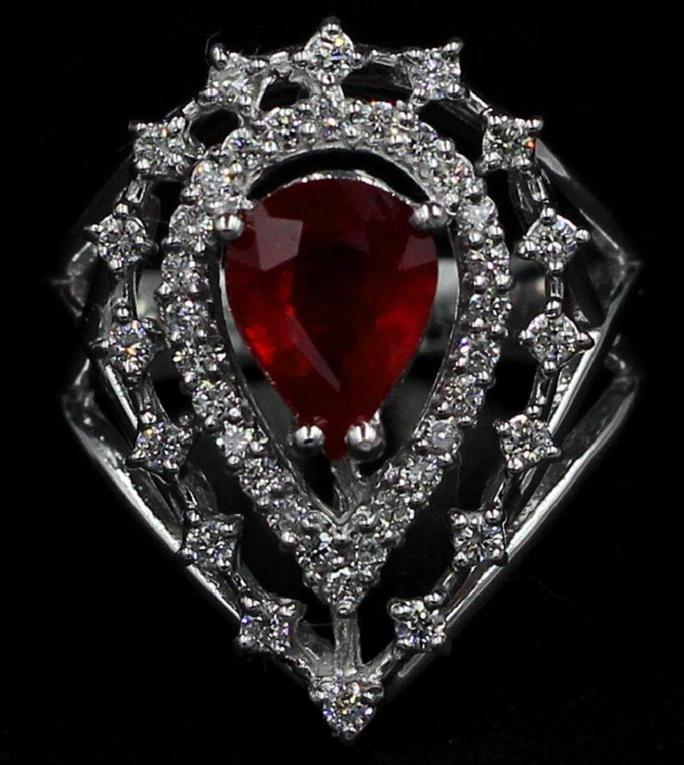 1.89 ctw Ruby and Diamond Ring - 14KT White Gold
