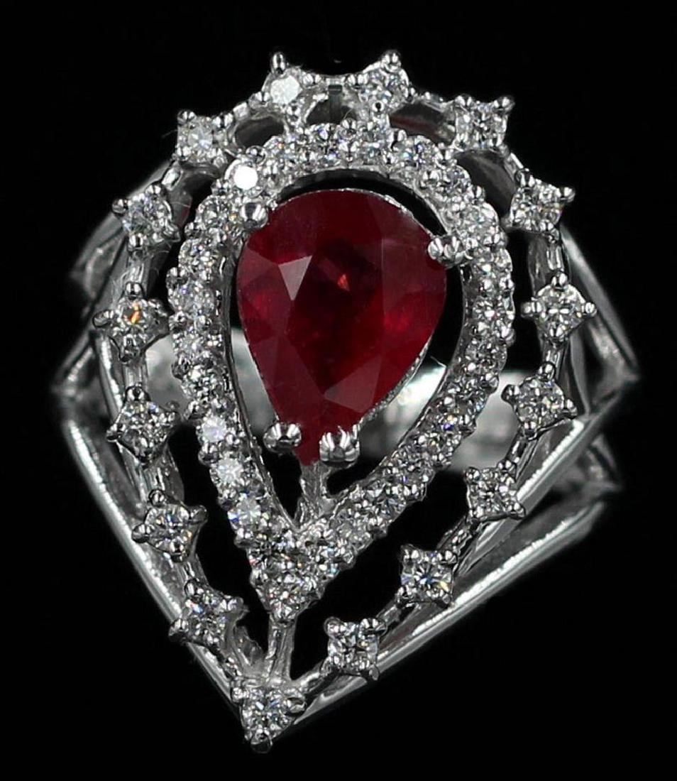 1.89 ctw Ruby and Diamond Ring - 14KT White Gold - 2