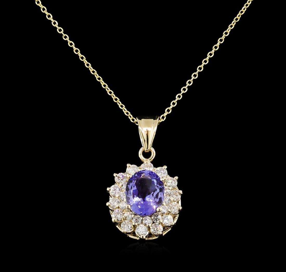 2.62 ctw Tanzanite and Diamond Pendant With Chain -