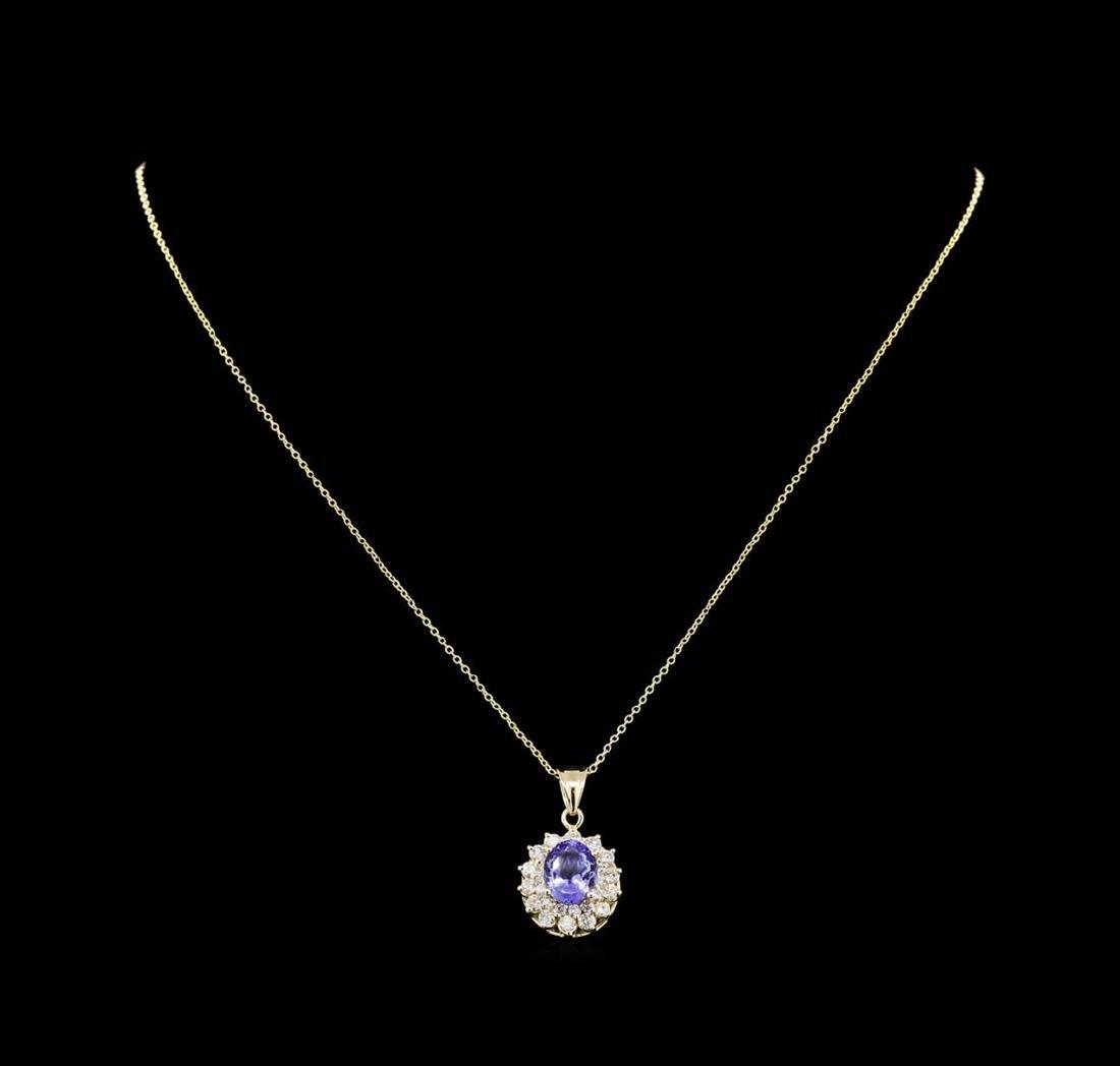 2.62 ctw Tanzanite and Diamond Pendant With Chain - - 2