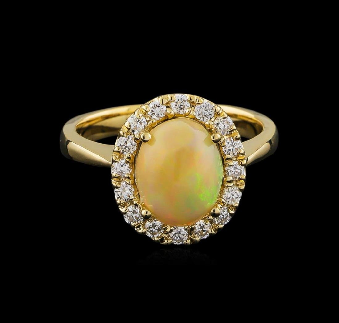 1.70 ctw Opal and Diamond Ring - 14KT Yellow Gold - 2
