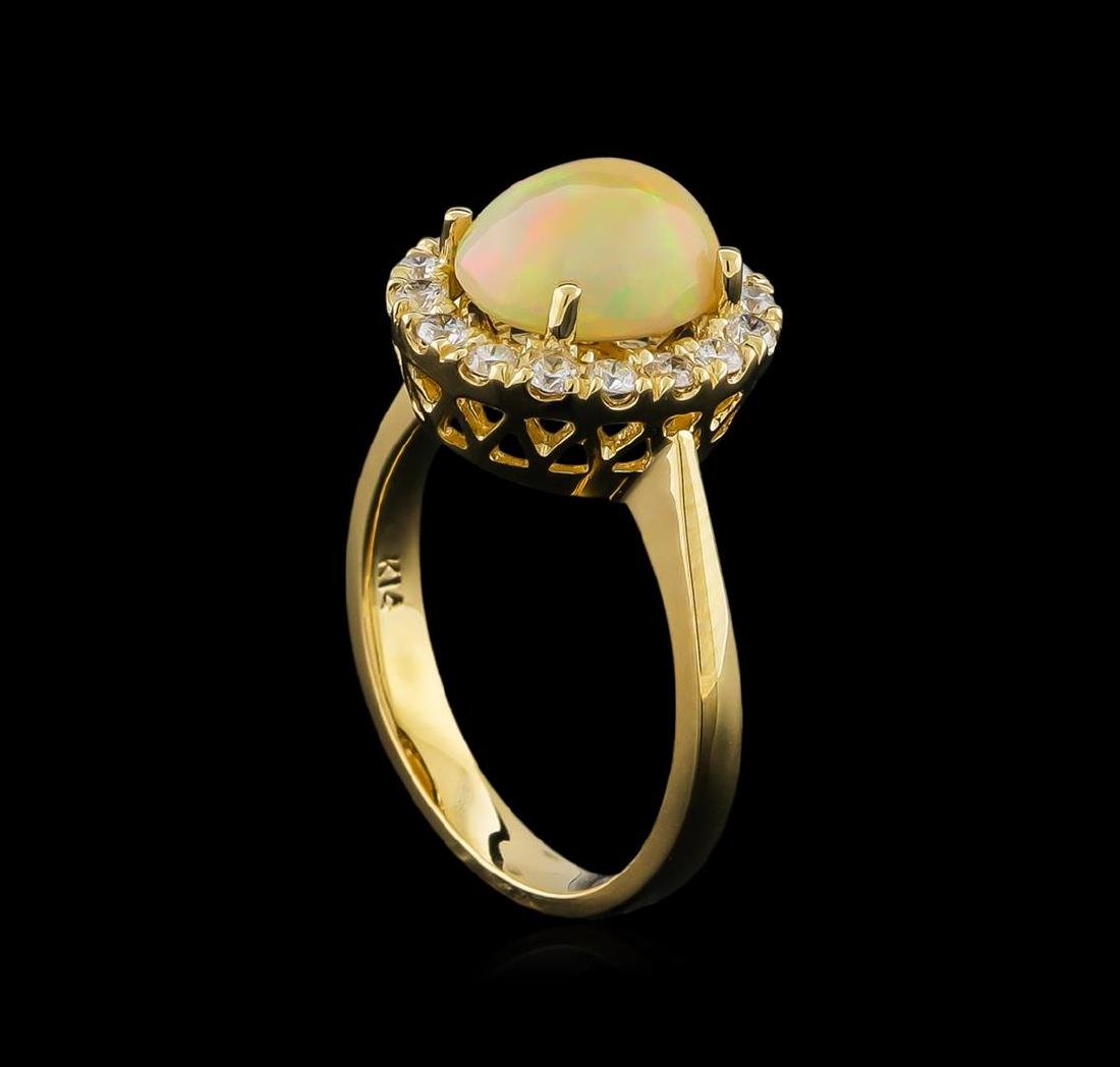 1.70 ctw Opal and Diamond Ring - 14KT Yellow Gold - 4