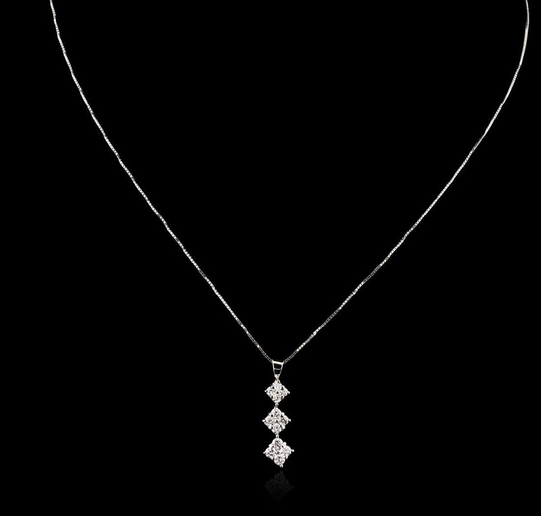 18KT White Gold 0.85 ctw Diamond Pendant With Chain - 2