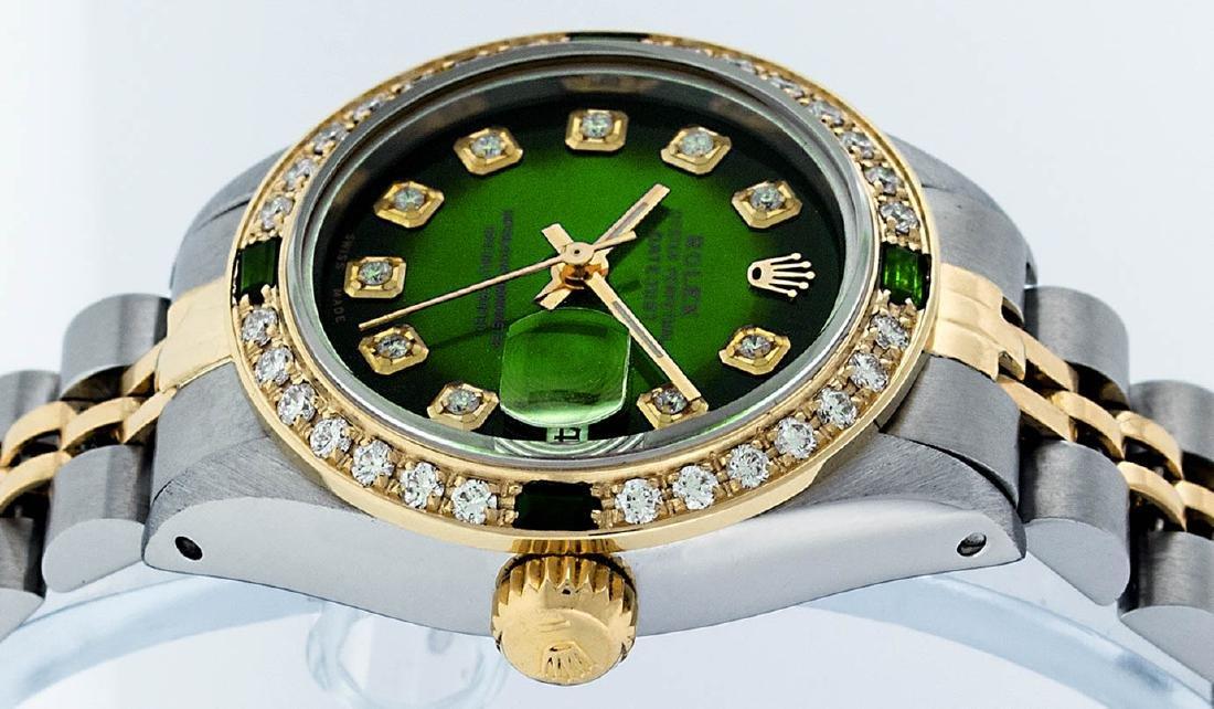 Rolex Ladies 2 Tone Green Vignette Diamond Datejust - 2
