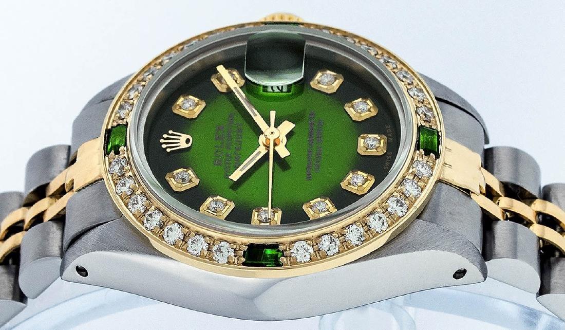 Rolex Ladies 2 Tone Green Vignette Diamond Datejust - 3