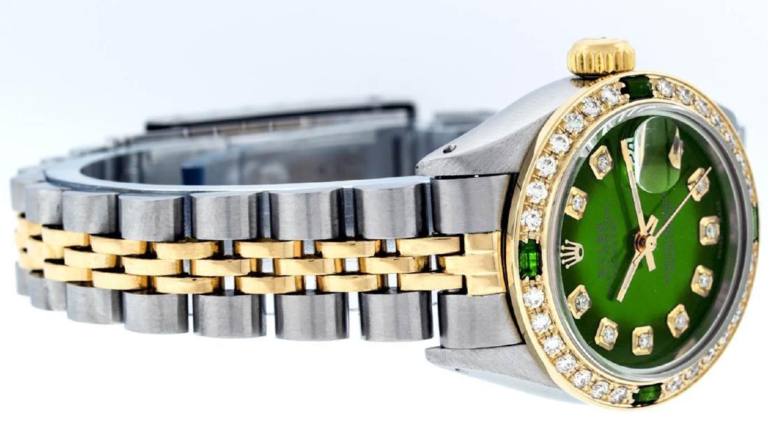 Rolex Ladies 2 Tone Green Vignette Diamond Datejust - 4