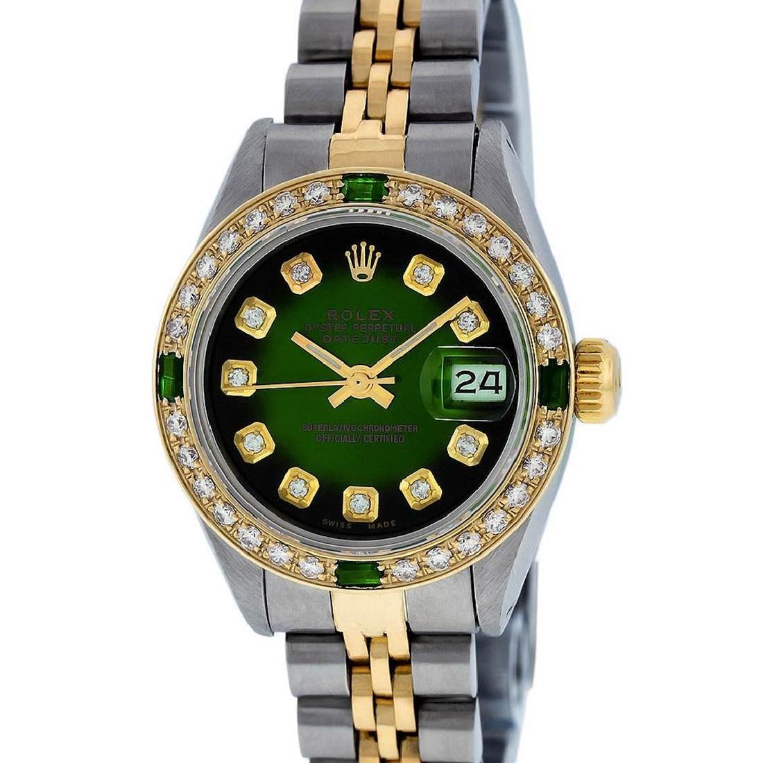 Rolex Ladies 2 Tone Green Vignette Diamond Datejust - 8