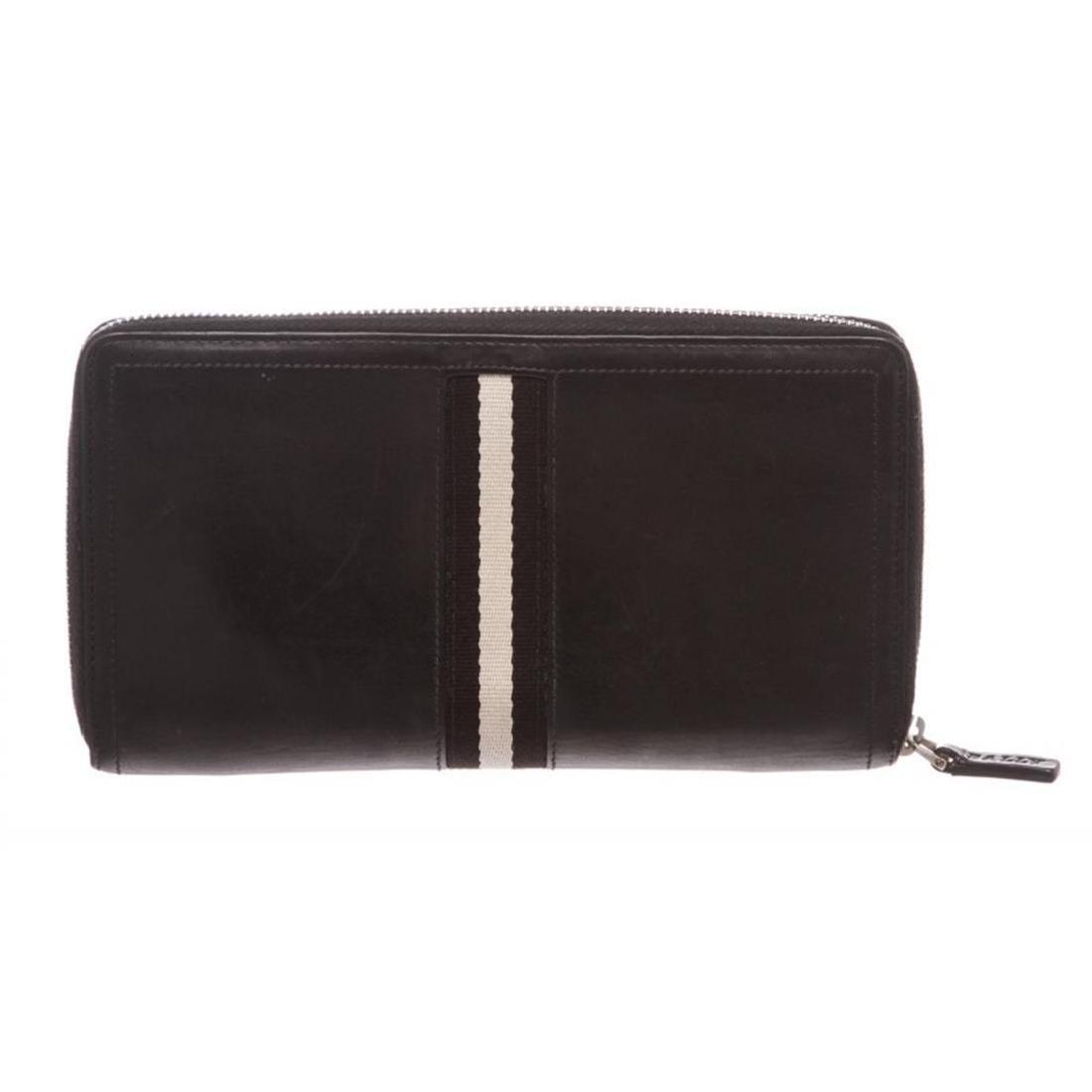 Bally Black Leather Long Zipper Wallet