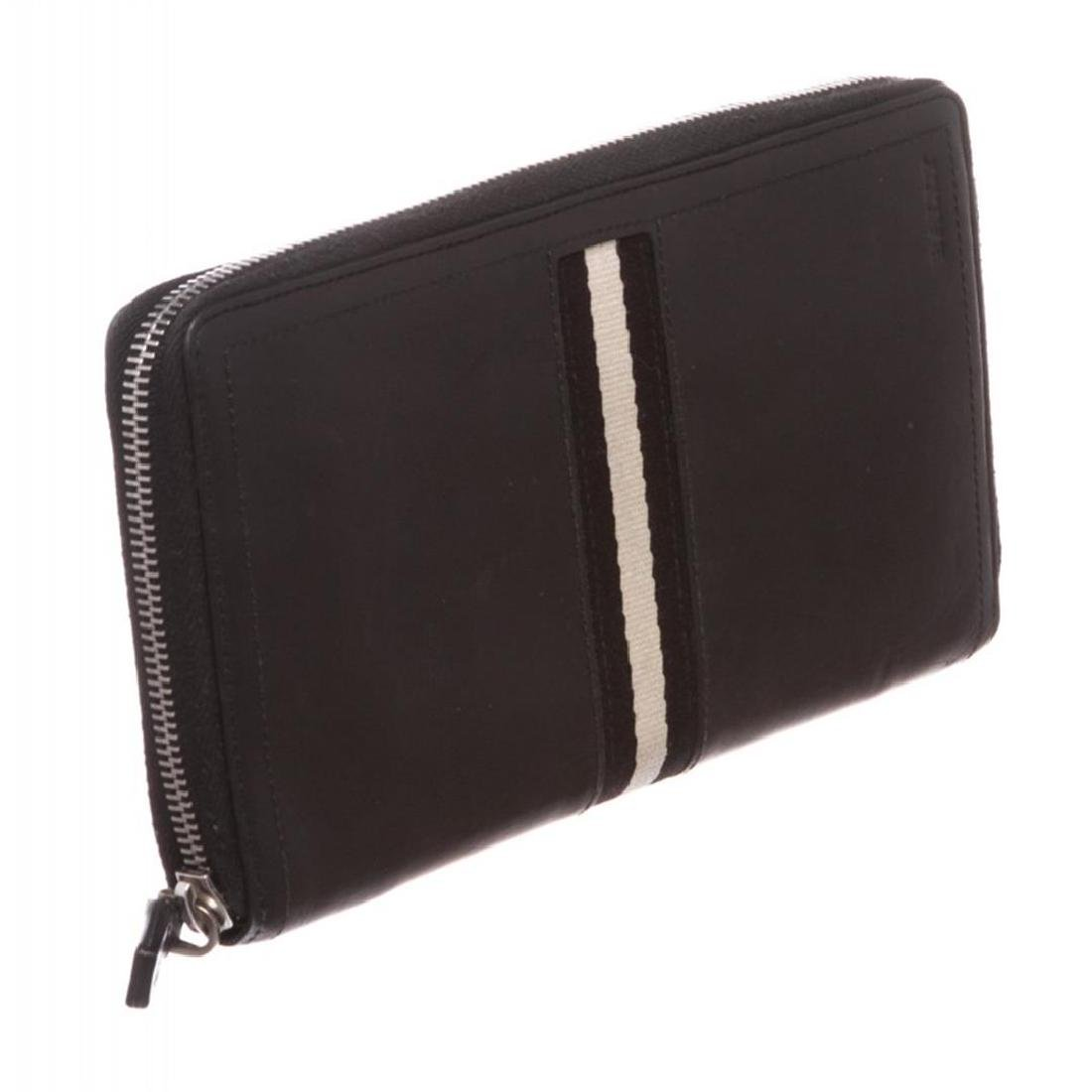 Bally Black Leather Long Zipper Wallet - 2