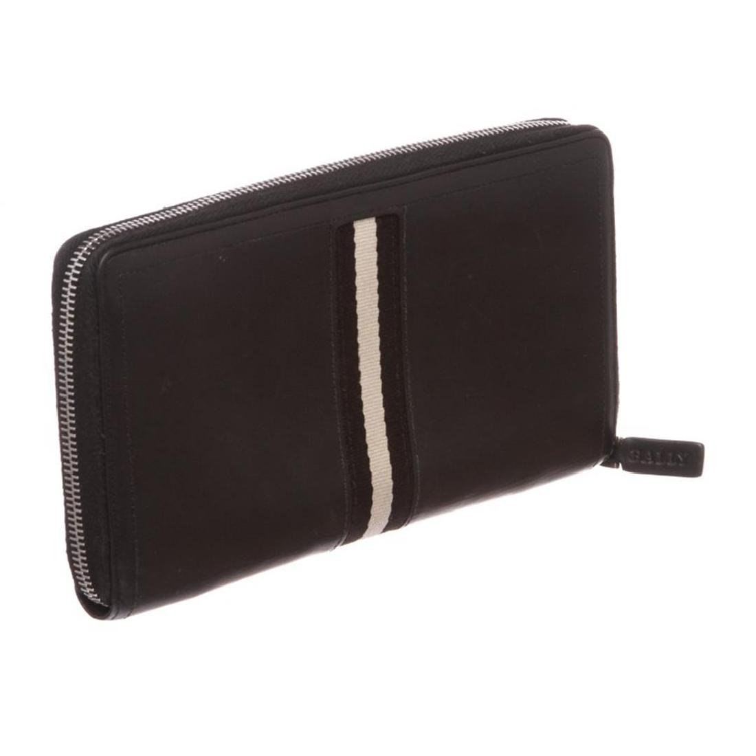 Bally Black Leather Long Zipper Wallet - 3