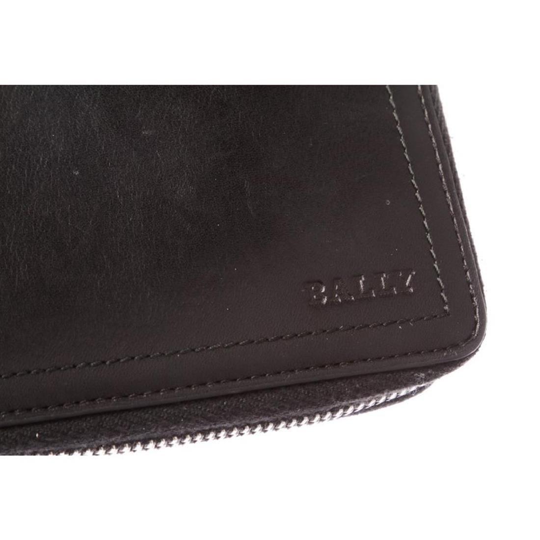 Bally Black Leather Long Zipper Wallet - 5