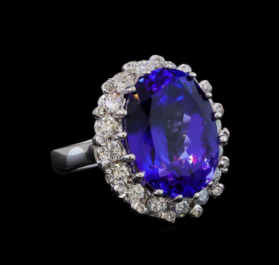 GIA Cert 16.07 ctw Tanzanite and Diamond Ring - 14KT