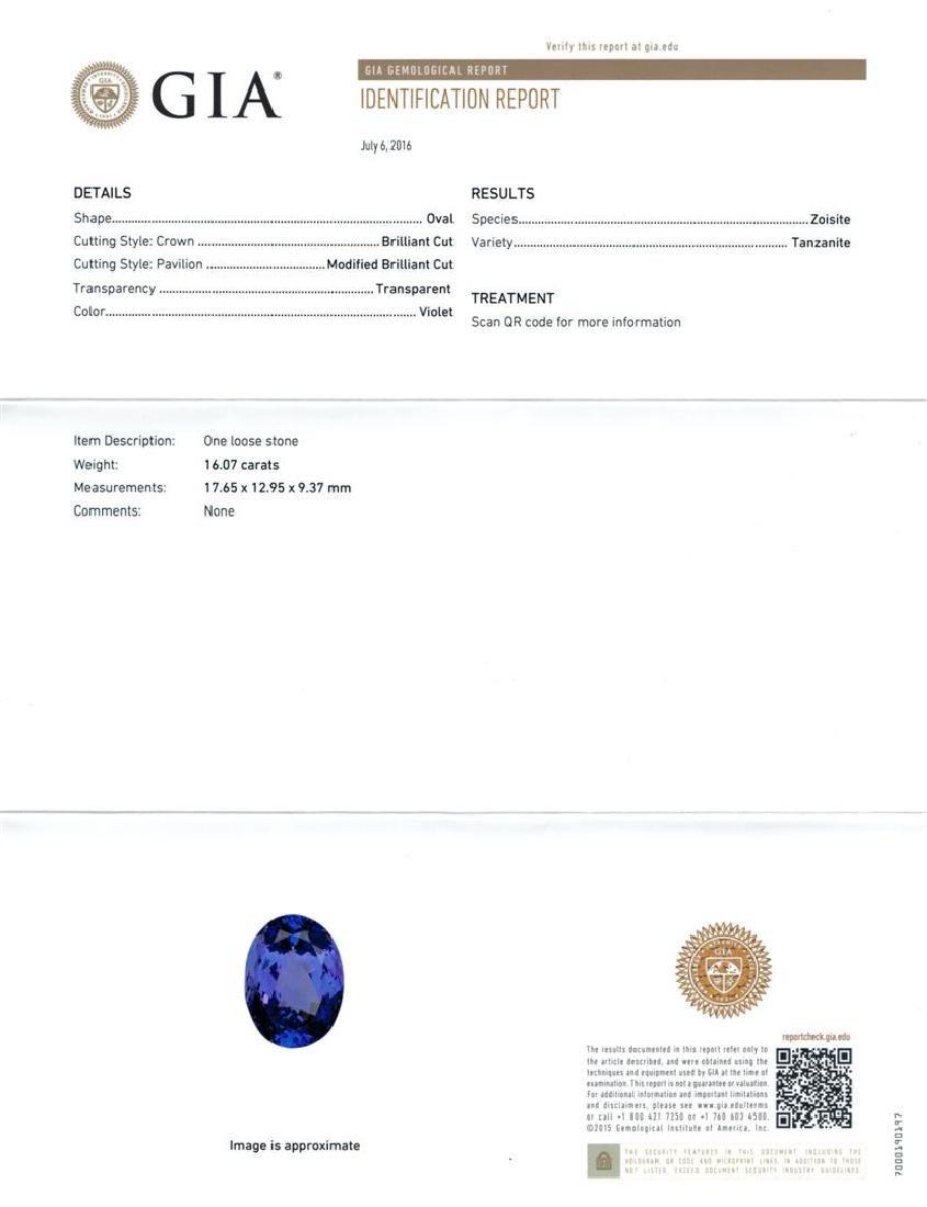 GIA Cert 16.07 ctw Tanzanite and Diamond Ring - 14KT - 6