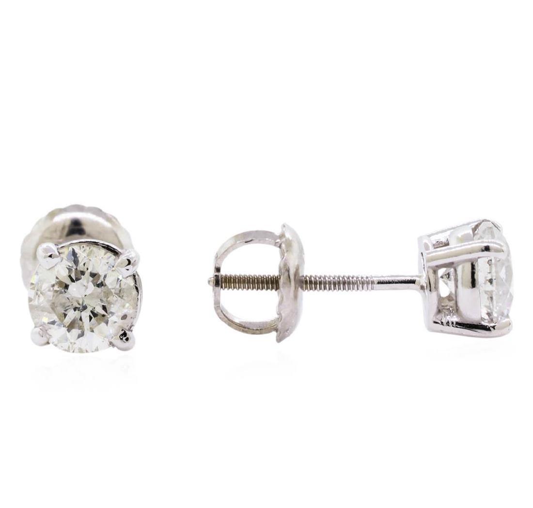 1.40 ctw Diamond Stud Earrings - 14KT White Gold - 2