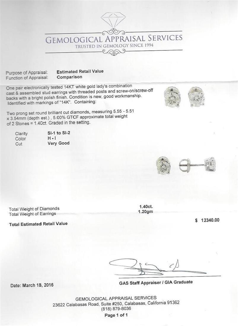 1.40 ctw Diamond Stud Earrings - 14KT White Gold - 3