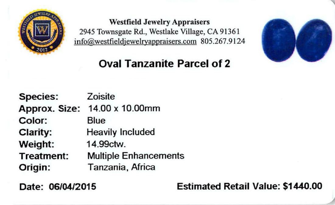 14.99 ctw Cabochon Tanzanite Parcel - 2