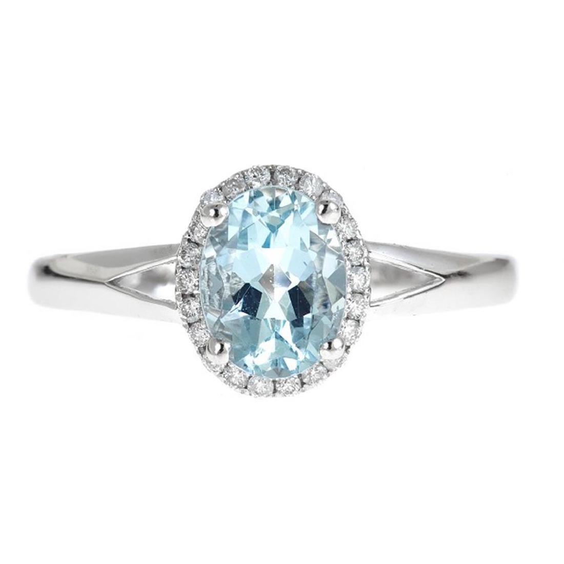 1.21 ctw Aquamarine and Diamond Ring - 14KT White Gold