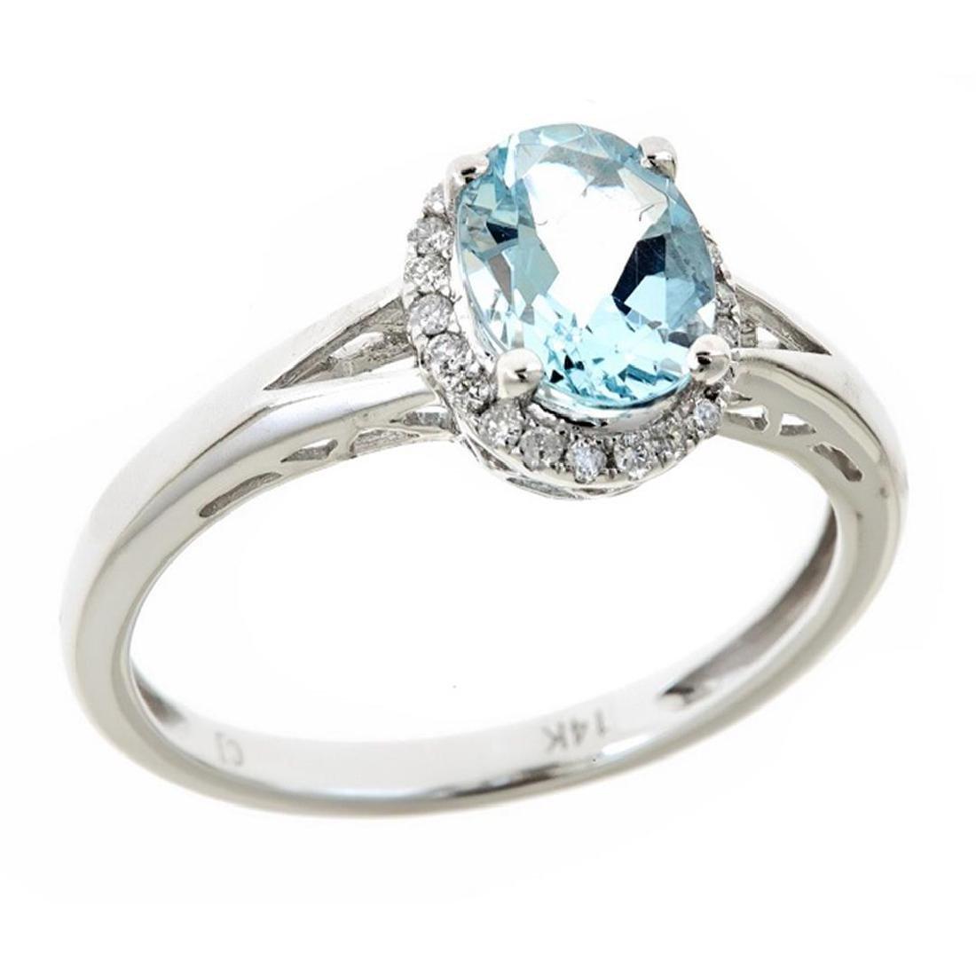 1.21 ctw Aquamarine and Diamond Ring - 14KT White Gold - 2