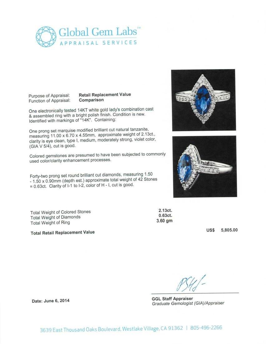 14KT White Gold 2.13 ctw Tanzanite and Diamond Ring - 5
