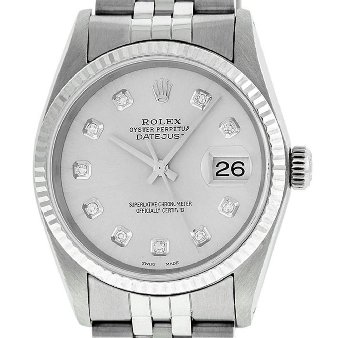 Rolex Mens Stainless Steel Silver Diamond Datejust