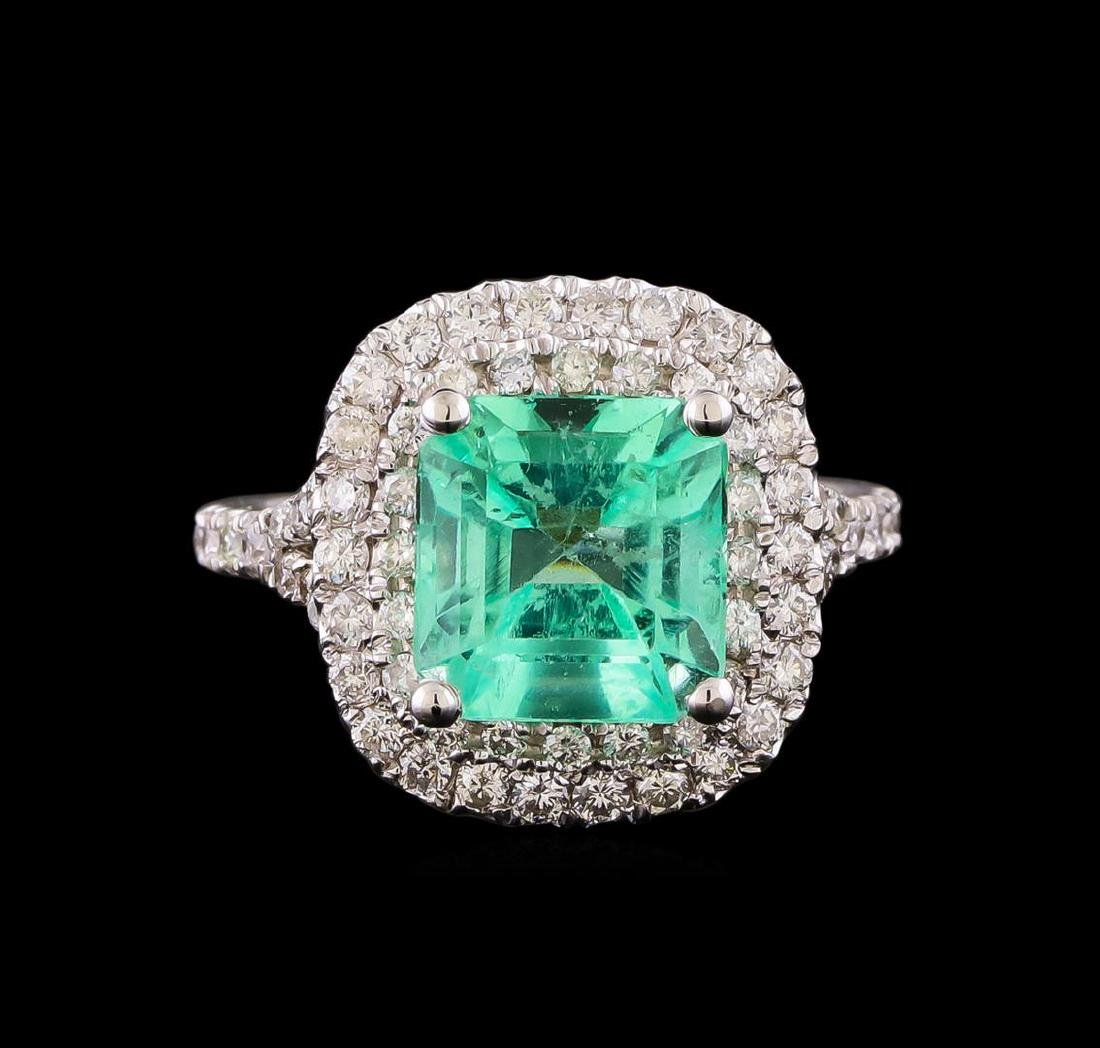 3.01 ctw Emerald and Diamond Ring - 14KT White Gold - 2