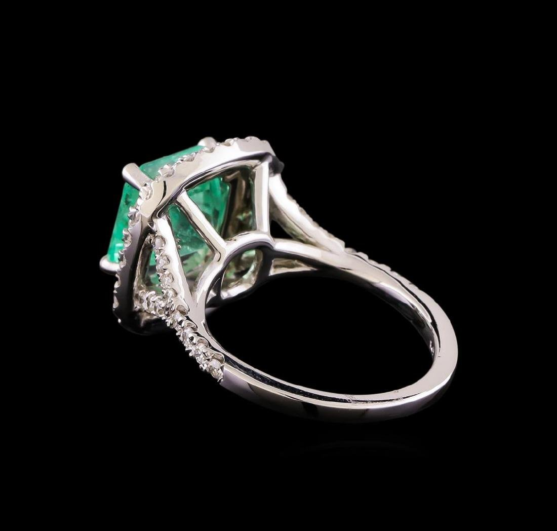 3.01 ctw Emerald and Diamond Ring - 14KT White Gold - 3