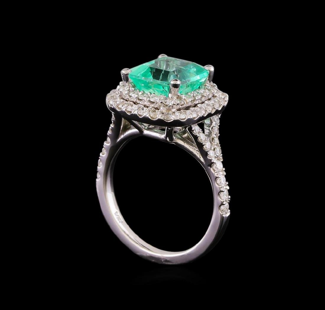 3.01 ctw Emerald and Diamond Ring - 14KT White Gold - 4