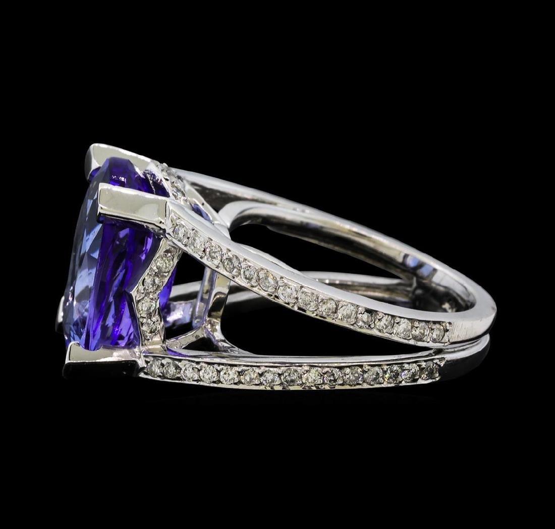 7.37 ctw Tanzanite and Diamond Ring - 14KT White Gold - 3