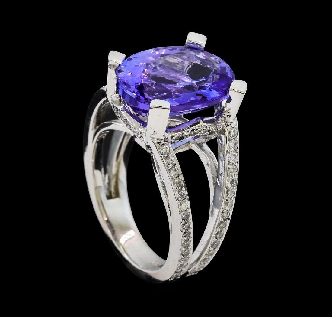 7.37 ctw Tanzanite and Diamond Ring - 14KT White Gold - 4