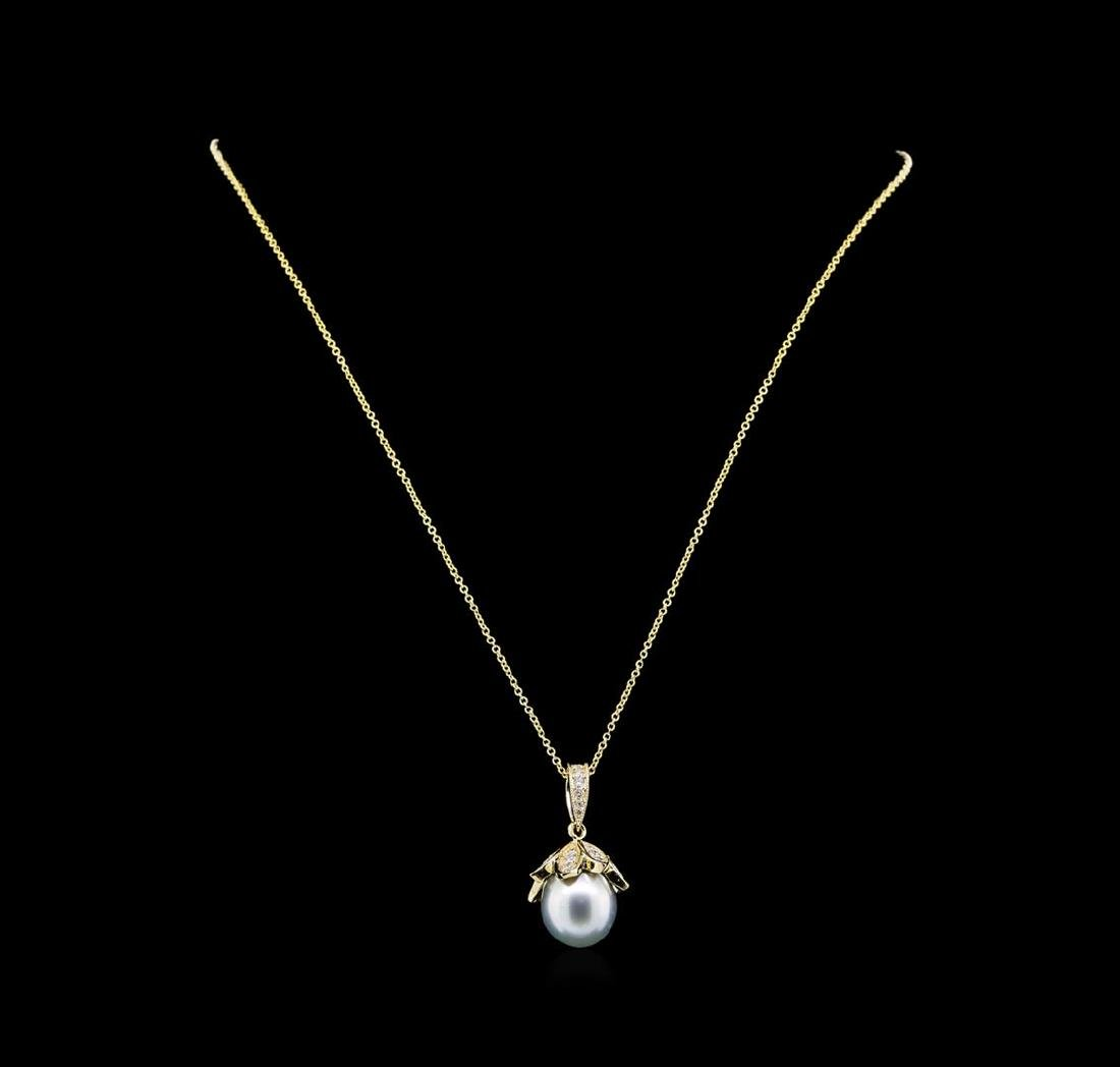 Pearl and Diamond Pendant With Chain - 14KT Yellow Gold - 2