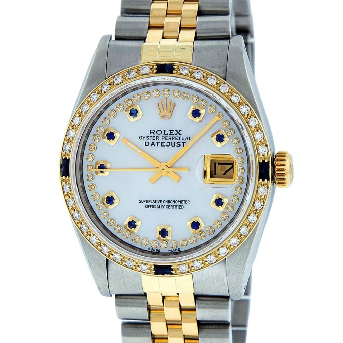 Rolex Mens 2 Tone 14K Mother Of Pearl Diamond &