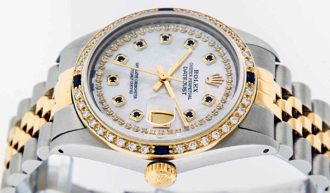Rolex Mens 2 Tone 14K Mother Of Pearl Diamond & - 4