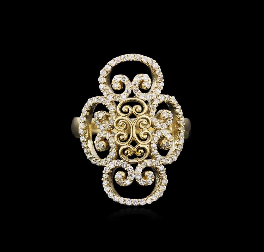 0.68 ctw Diamond Ring - 14KT Yellow Gold - 2