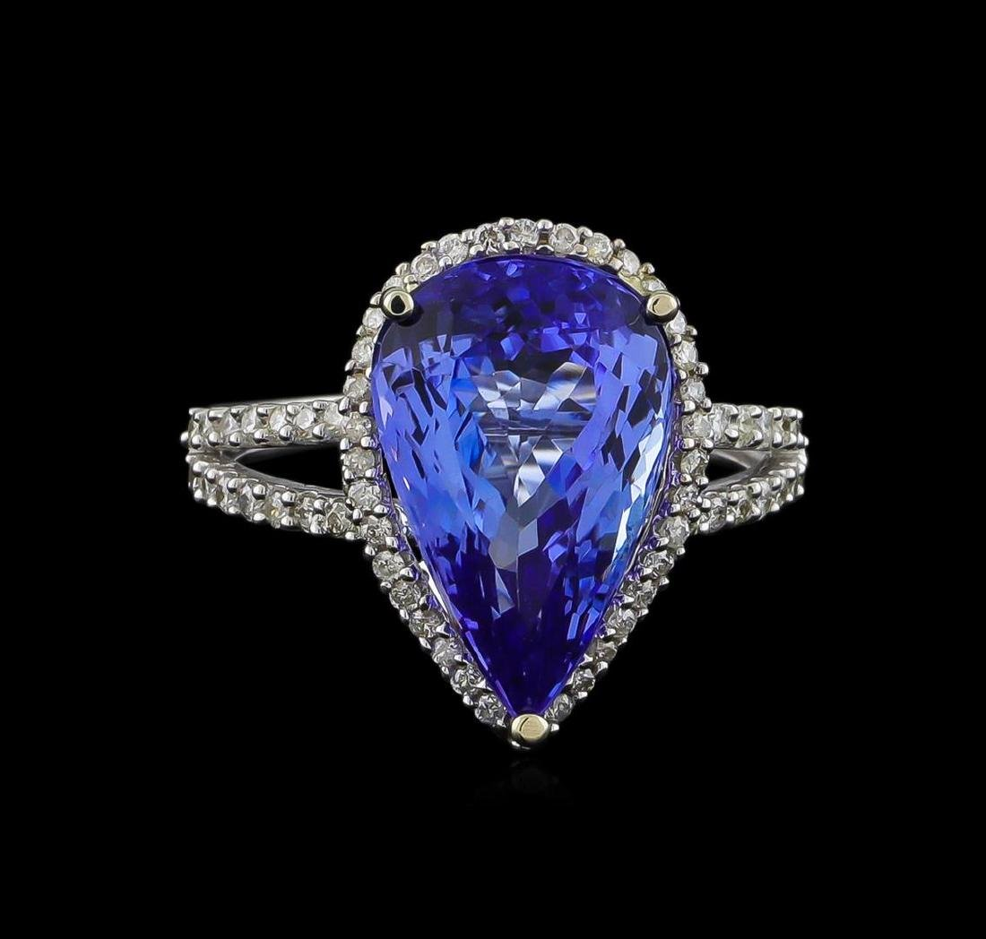 7.11 ctw Tanzanite and Diamond Ring - 14KT White Gold - 2