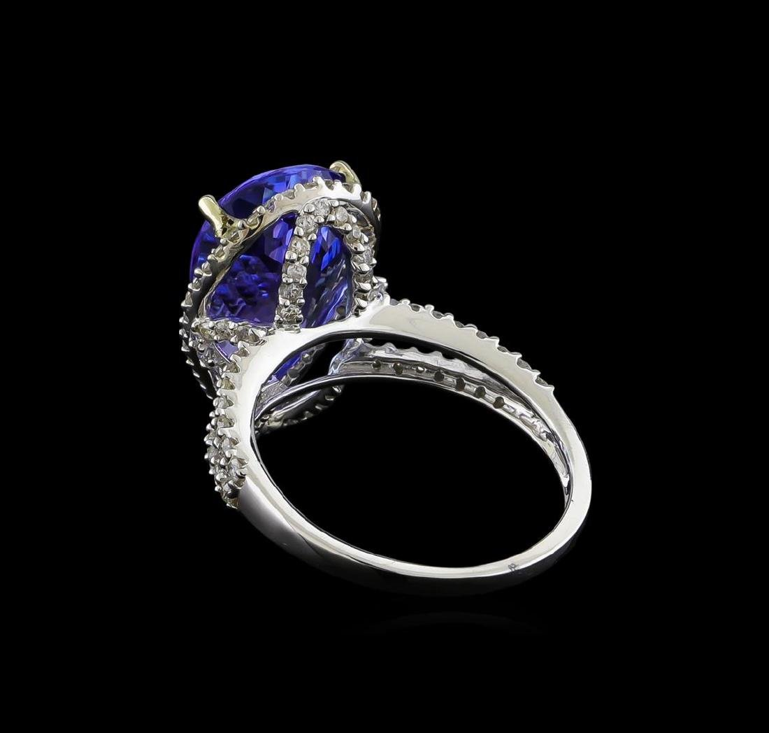 7.11 ctw Tanzanite and Diamond Ring - 14KT White Gold - 3