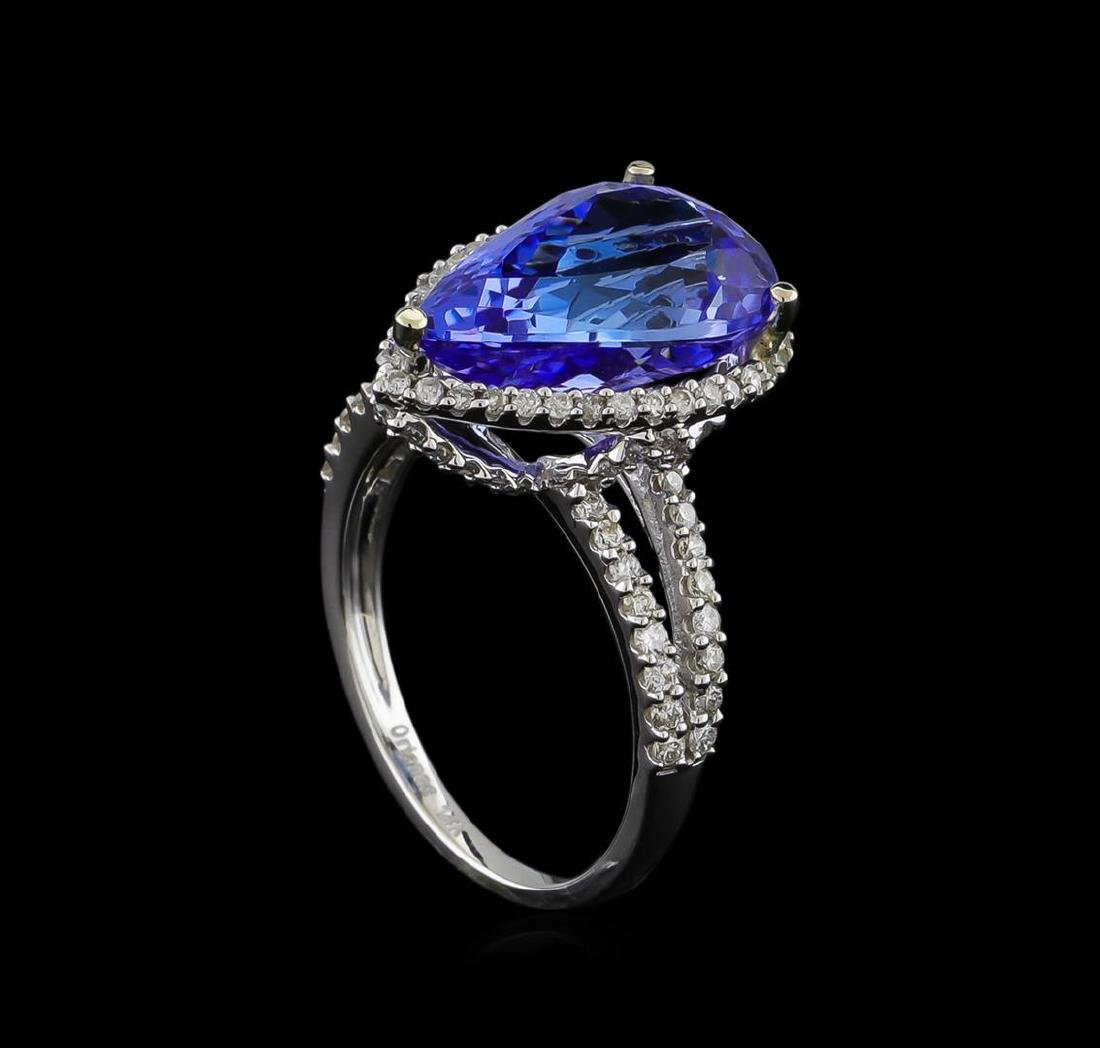 7.11 ctw Tanzanite and Diamond Ring - 14KT White Gold - 4