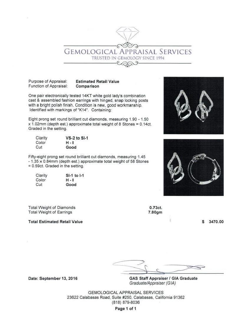 0.73 ctw Diamond Earrings - 14KT White Gold - 3