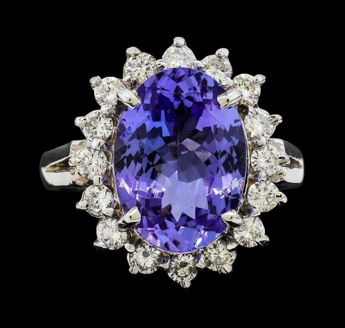 6.33 ctw Tanzanite and Diamond Ring - 14KT White Gold - 2