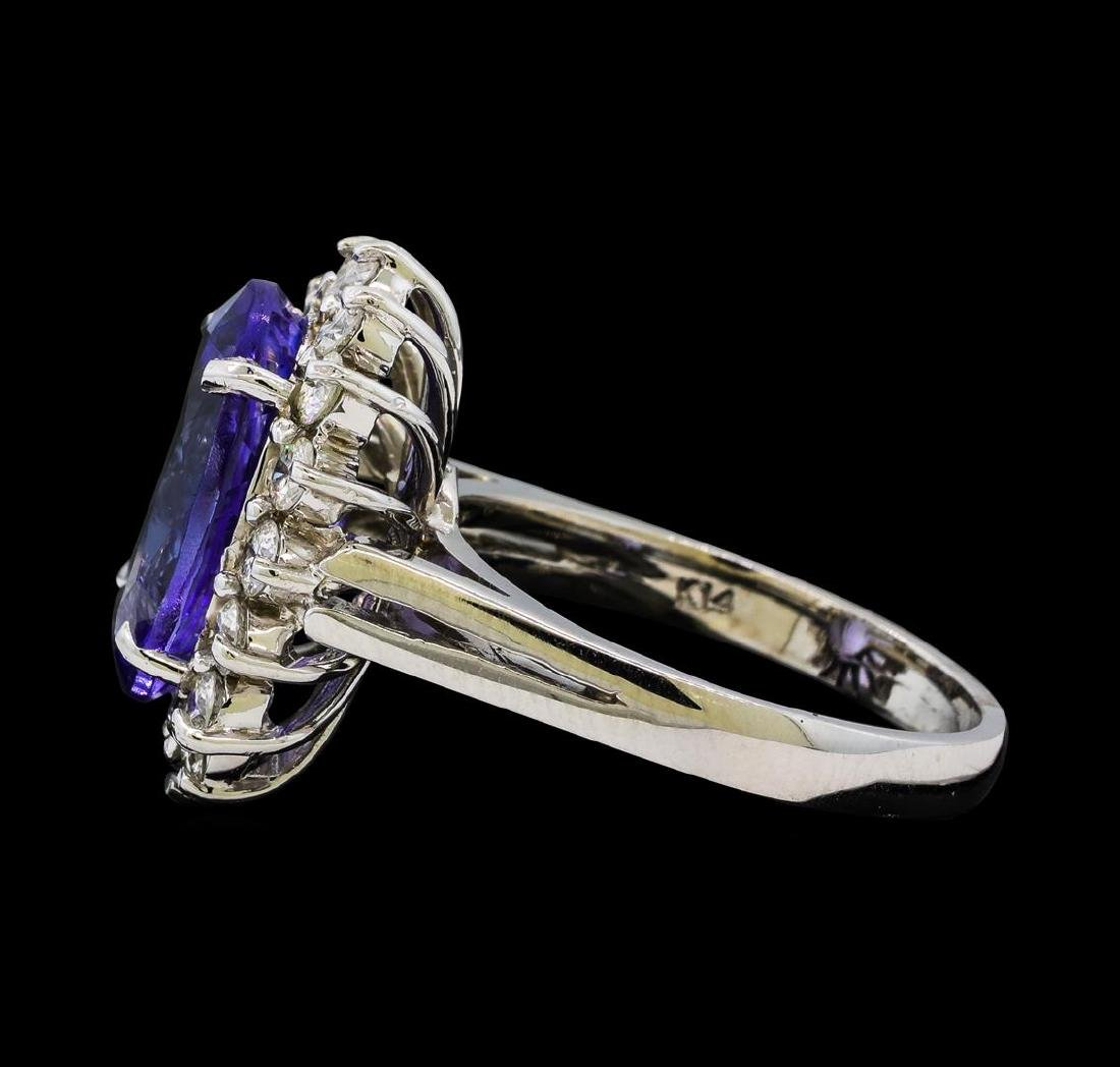 6.33 ctw Tanzanite and Diamond Ring - 14KT White Gold - 3