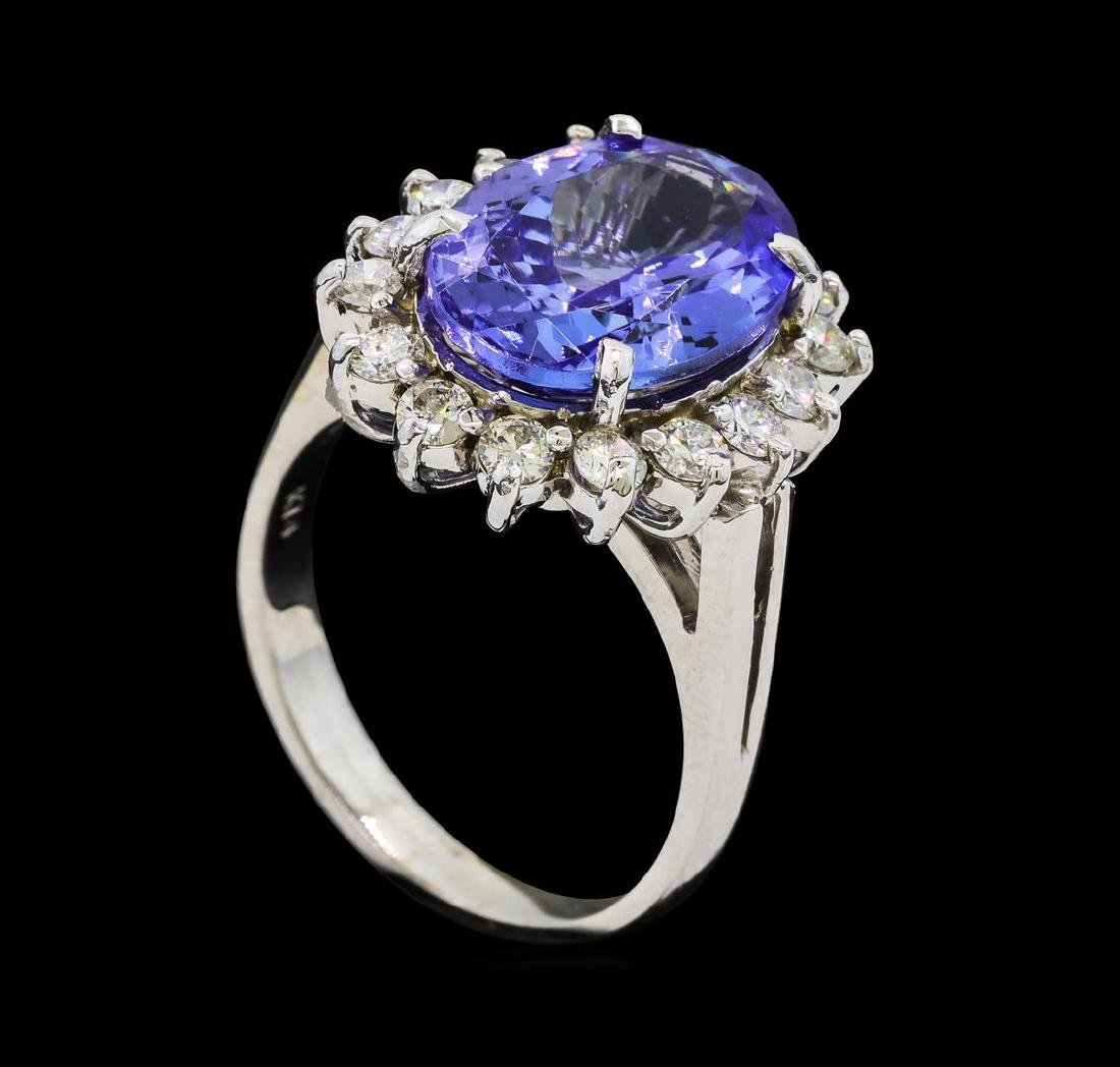 6.33 ctw Tanzanite and Diamond Ring - 14KT White Gold - 4