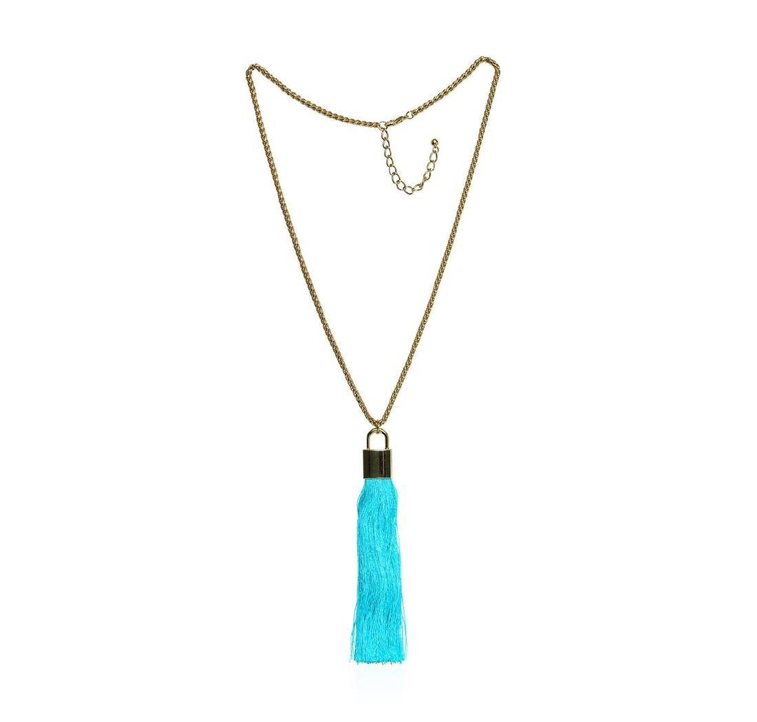 Silk Tassel Square Pendant Necklace - Gold Plated