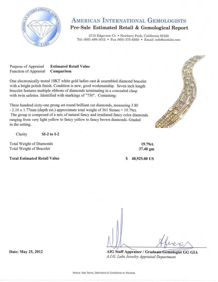 18KT White Gold 19.79tcw Diamond Ribbon Bracelet - 5