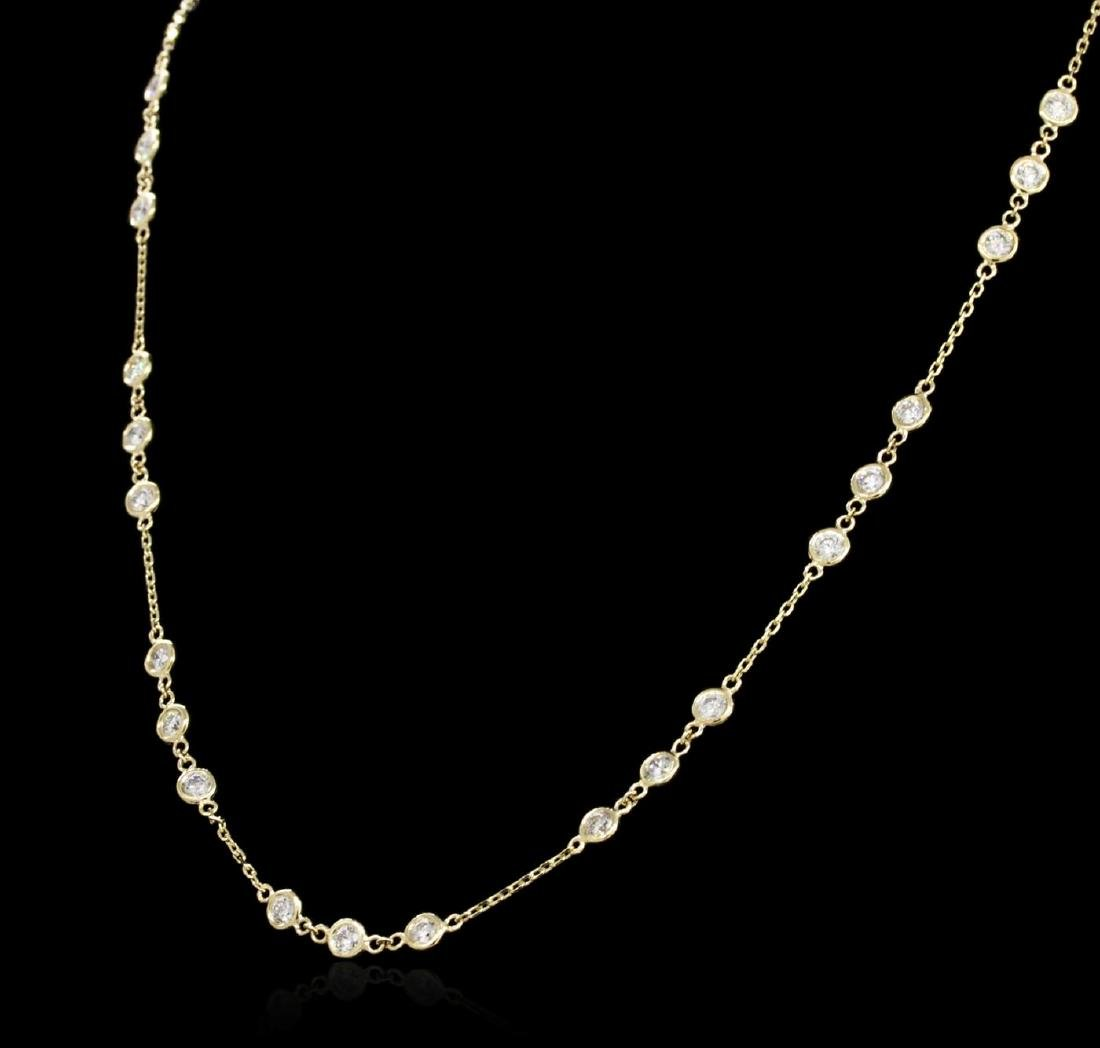 14KT Yellow Gold 2.96 ctw Diamond Necklace - 3