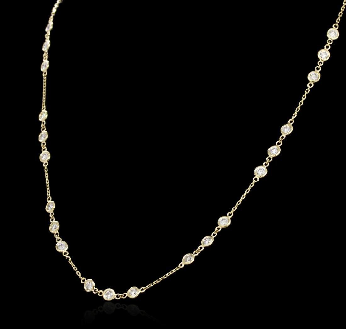 14KT Yellow Gold 2.96 ctw Diamond Necklace - 3